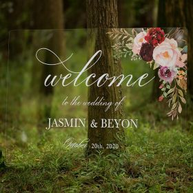 Custom Wedding Signs-Burgundy and Pink Floral Acrylic Welcome Sign CS013