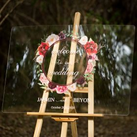 Custom Wedding Signs-Burgundy and Pink Garland Acrylic Welcome Sign CS011