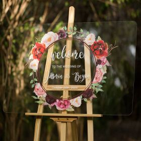 Custom Wedding Signs-Burgundy and Pink Garland Acrylic Welcome Sign CS012