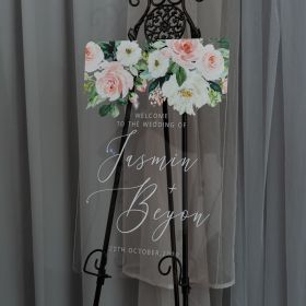 Custom Wedding Signs-Ethereal White and Pink Floral Acrylic Wedding Welcome Sign CS034