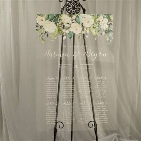 Custom Wedding Signs-Greenery & White Floral Acrylic Seating Chart CS023