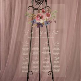 Custom Wedding Signs-Natural Pink and Purple Floral Acrylic Seating Chart CS030