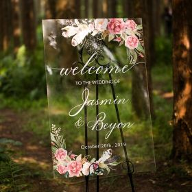 Custom Wedding Signs-Nature Rose and Feather Floral Acrylic Welcome Sign CS008