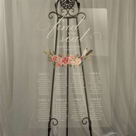 Custom Wedding Signs-Pink and Blush Floral Acrylic Seating Chart CS024