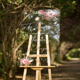 Custom Wedding Signs-Purple Pink and Feather Floral Acrylic Welcome Sign CS017