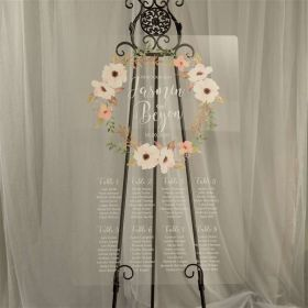 Custom Wedding Signs-Rustic Garland and White Acrylic Seating chart CS019
