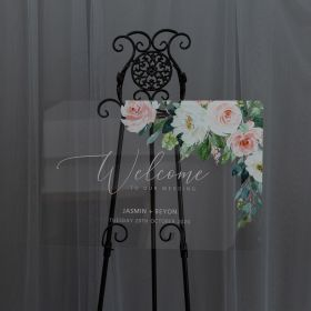Custom Wedding Signs-Ethereal White and Pink Floral Acrylic Wedding Welcome Sign CS033