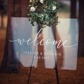 Custom Wedding Signs-White Simple  Acrylic Wedding Welcome Signs CS037
