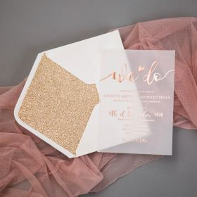 Cute Chic Foil Wedding Invitations on Vellum Paper CFI007