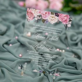 Dusty Pink Flower Clear Acrylic Wedding Invitations With White Printing CA034