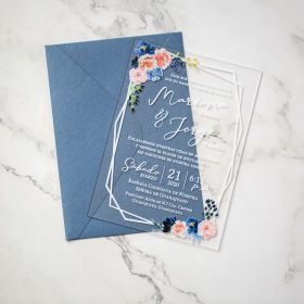 Dusty Rose and Dusty Blue Floral Acrylic Wedding Invitations CA017 2