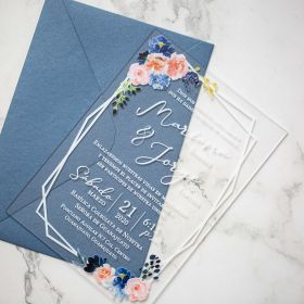Dusty Rose and Dusty Blue Floral Acrylic Wedding Invitations CA017 3