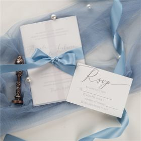 Elegant Wedding Invitations with Vellum Jackets and Bue Ribbon CDI003