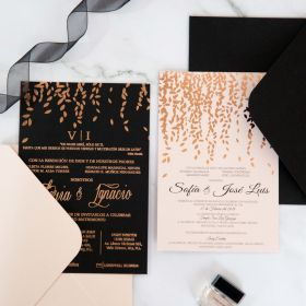 Elegant Foil Leaves Wedding Invitations CFI013
