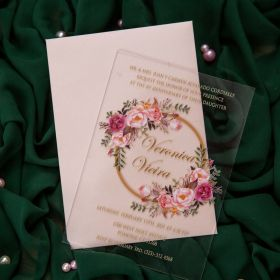 elegant pink floral wreath acrylic wedding invitation card CA036