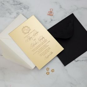 Elegant White Monogramm on Gold Mirror Acrylic Wedding Invites CAJ002