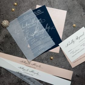 Exquisite Calligraphy Foil Wedding Invitations CFI012