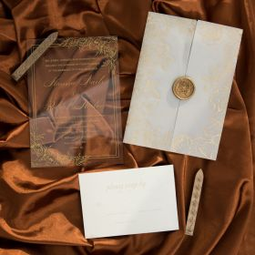 Gold Floral Acrylic Wedding Invites Foiled Vellum Pocket And Adhesive Wax Seal CAPV002-1