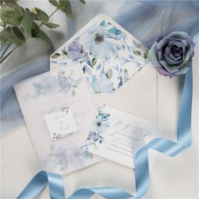 french blue and periwinkle watercolor flower wedding invitations vellum CDI016