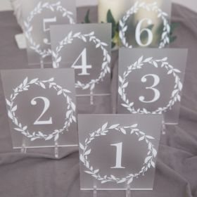 Frosted Acrylic Wedding Table Numbers floral Garland CT012
