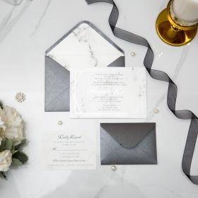 Geometric Marble Theme Foil Wedding Invitations CFI004