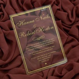 Gold Screen Printing Calligraphy Wedding Invitations With Frames CA042