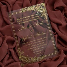 Gold Floral Print Acrylic Calligraphy Wedding Invitations CA040