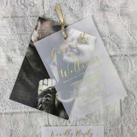 Gold Foil Vellum Paper Layered Photo Wedding Invitations CFI009