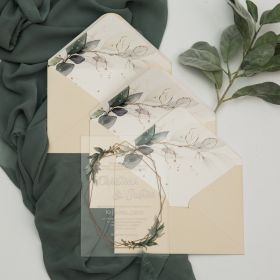 Greenery Geometric Clear Acrylic Wedding Invites With Sage Green Envelope Liner CAEL001