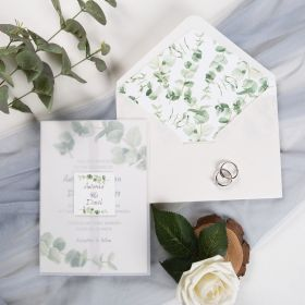 greenery eucalyptus wedding invitation with vellum paper belly band and tag CDI018