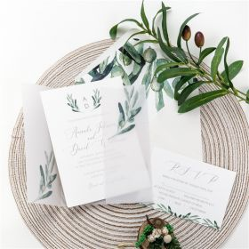 Greenery Monogram Wedding Invitations with Vellum Jackets CDI008