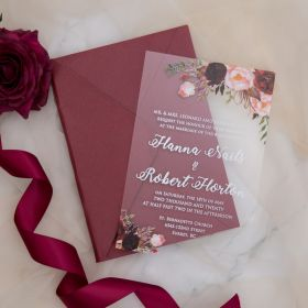 Beauty and the Beast Themed Burgundy Rose Acrylic Wedding Invitation CA022