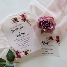 Burgundy Floral UV Printing Vellum Wedding Invitations CUI002