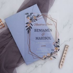 Lavender Acrylic Wedding Invitations with Gray and Yellow Floral CA018