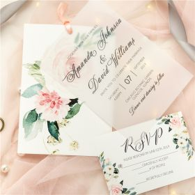Layered Blush Pink Flower Vellum Wedding Invitations CDI006