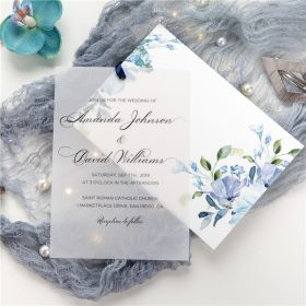 Layered Dusty Blue Water Color Flower Vellum Wedding Invitations CDI007