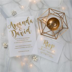 luxury calligraphy gold foil wedding invitations on vellum paper CFI001
