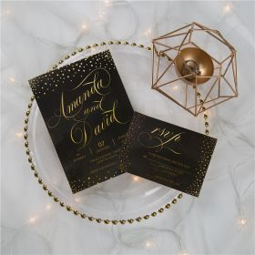 Midnight Chic black and gold Wedding  Invitations CDI004