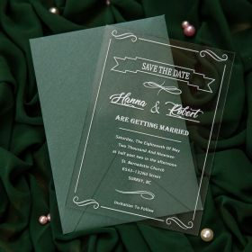 Modern Chic White-calligraphy Acrylic Wedding Invitations With Frames CA037
