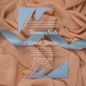 modern dusty blue stroke acrylic wedding invitations CA035