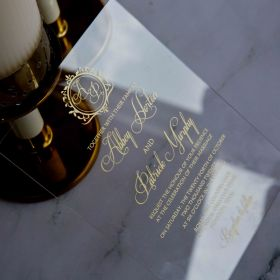 Monogram Affordable Calligraphy Gold Acrylic Wedding Invitations CAX002