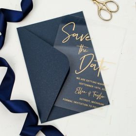 Mordern Gold Calligraphy Acrylic Save the Date Cards CSTD006