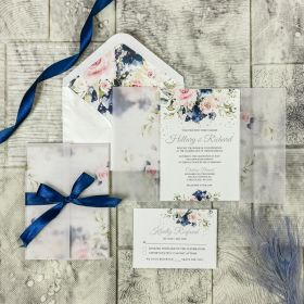 Navy and Blush Pink Floral wedding invitations CDI013
