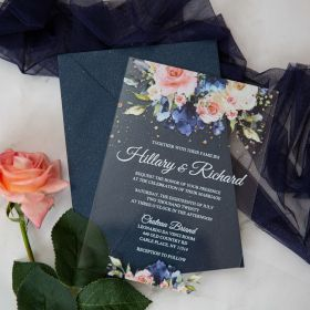 Navy And Pink Floral Clear Acrylic Wedding Invitations CA033