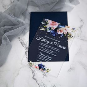 Navy Blue and Pink Floral Acrylic Wedding Invitations CA024 1