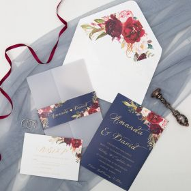 Navy Blue and Rose Floral Foil Wedding Invitations with Vellum Jackets CDI001