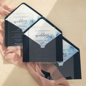 Navy Clear Acrylic Wedding Invitations Blue Watercolor Ombre Envelope Liner CAEL002-1