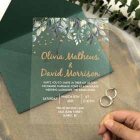 Night String Lights With Greenery Designs Acrylic Wedding Invitations CA047
