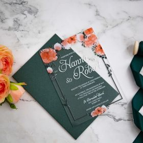 Peach Orange and Green Floral Acrylic Wedding Invitation CA029