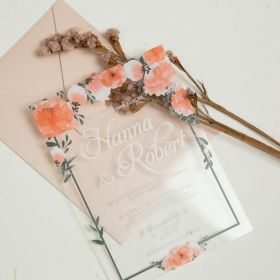 Peach Orange Greenery 1mm Acrylic Wedding Invitation CAX029